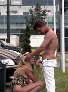 Public sex a couple doing it at the car dealership