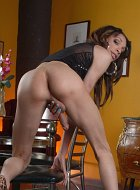 Petite tiny titted Laci tosses her green A cup bra